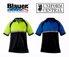 New BLAUER Colorblock Performance Short Sleeve Polo - Police - All Sizes - 8133