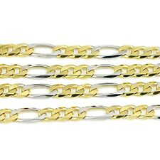 """10k Yellow/White Gold Figaro Chain Necklace 16""""(new, 14.20g)#2499a"""