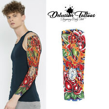 REALISTIC TEMPORARY TATTOO SLEEVE - BURNING ROSE, MENS, WOMENS, KIDS, BODY ART