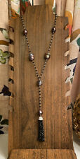 Rarities HSN Cultured Baroque Pearl Black Spinel Tassel Necklace