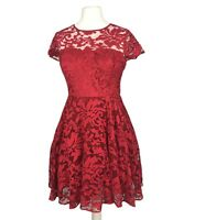 Ted Baker (Ted Size 4) Size 14 Red Fit & Flare Cap Sleeve Party Prom  Dress