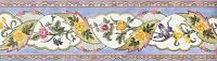Walpaper Border French Country Floral Blue, Pink, Green & Gold
