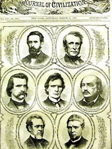 Johnson Impeachment BOUTWELL LOGAN WILSON BUTLER 1868 Print Matted