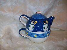 *Chipped* Jolly Follies Sandi Gore Evans Snowman Teapot Midwest S'Mores Lefty