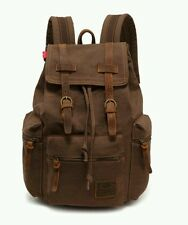 Backpack Vintage Canvas Leather Travel Bag Sport Mens  Camping Brown New