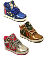 NEW KIDS GIRLS HI TOPS TRAINERS CANVAS ANKLE HIGH TOP NEW BOOTS SHOES SIZES UK