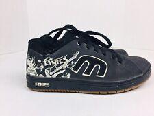 Etnies Callicut Skateboard Shoes Black Mens Sz 7 Womens 9 Graffiti Guitar Detail