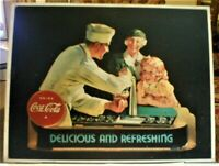 "Vintage Coca-Cola Tin Sign Soda Jerk ""Delicious and Refreshing"", Excellent"