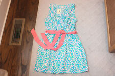 Pink Owl Cream Blue White Geometric Dress Medium Polyester Sleeveless Belt Tie