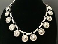 """Vintage Early Mexico Sterling Silver Large Disc Link 20"""" Necklace-106 g"""