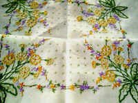 Charming Pale Yellow Primroses/Primulas  ~ Vintage Hand Embroidered Tablecloth