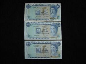 Bermuda Lot of 3 One Dollar Notes VF