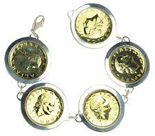 """Italian 1998 Lira Coin Set in Solid 925 Sterling Silver Bracelet 8"""" L '"""