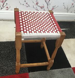 Vintage Tall Wooden Woven Rattan Seat Stool Footstool Wicker Beige & Red 45.5cms