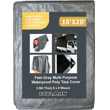 Toolman 16 x 20 Feet Gray Multi Purpose Waterproof Poly Tarp Cover 5 Mil Thick