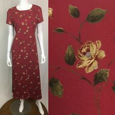 Vintage Liz Claiborne Emma James 4 Red Floral Rose Long Maxi Shift Dress 80s 90s