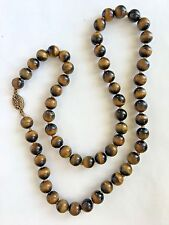 * Vintage Hand Knotted Golden Tiger Eye Bead Beads Chinese Necklace