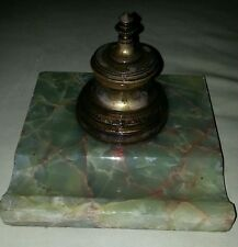 Antique  Desk Inkwell -   Brass well with flip lid with Green Marble Base