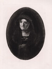 "Sharp 1800s REMBRANDT Antique Etching ""Bust of an Old Woman"" SIGNED Framed COA"
