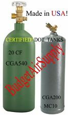 cga540(20CF) OXYGEN  ACETYLENE MC(10CF) cga200 valve Tanks cylinders SHIP EMPTY