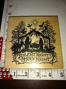 PSX, silent night holy night, Nativity, big,k1196,bx9, wooden,rubber,stamp