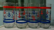 Set 4 glass Red Blue Nautical Anchor Old Fashioned drinking Glasses