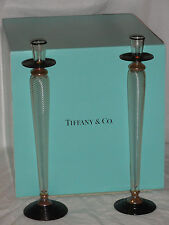 "Pair of 16"" TIFFANY & Co. Art Glass Candlesticks Paran Sculpture Signed w/Box"