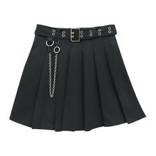 Japanese Women Pleated Skirt with Belt Mini Short Chain Gothic Punk Black