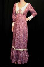 XS~S NOS VTG 70s Edwardian CORSET Candi Jones PURPLE CALICO MUSLIN MAXI DRESS
