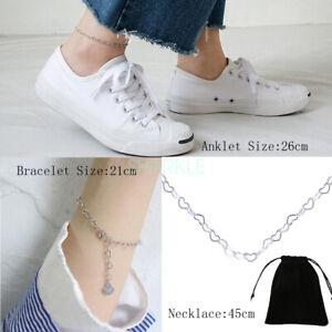 925 Sterling Silver Heart Bracelet Necklace 45cm Chain Best Friend Anklet Gifts