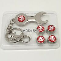Vauxhall Metal Wrench Keyring + a set of 4x Tyre Valve Dust Caps Gift For Him