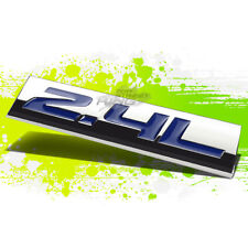 METAL 3D PLATE EMBLEM DECAL LOGO TRIM SYMBOL POLISHED CHROME BLUE 2.4L 2.4 L