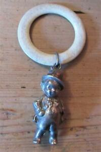 Vintage Rattle/Teether  with Bell Sound-EPNS Boy With Top Hat Baby Rattle R73068