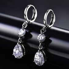 Dangle 9*6mm Pear Crystal Silver Gold Filled Women Lady Wedding Hoop Earrings