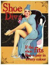 Zapato Diva,Años 50 Chica de calendario,Divertido/Gracioso,Metal Grande/