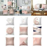 Pillow Case Rose Gold Geometric Pineapple Glitter Polyester Square Cushion Cover