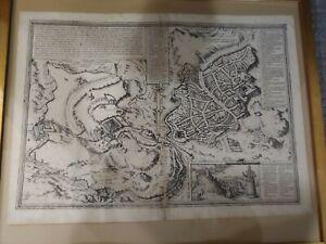 Ancient Braun & Hogenberg 1582 map of Jerusalem by Gottfried Von Kempen