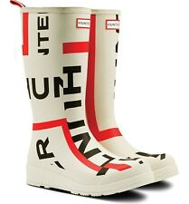 Hunter Original Exploded Logo Rain Boot Women Size 7 White