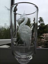 vintage engraved glass vase signed