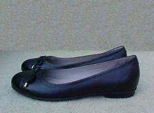 Womens Size 7 - 7.5 M ECCO BLACK LEATHER SLIP-ON FLATS SHOES Sz 38 us 7 - 7 1/2