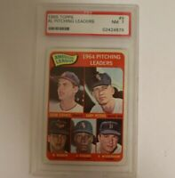 1965 Topps #9 AL Pitching Leaders PSA 7