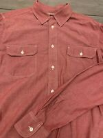 LUCKY BRAND Men's Shirt M Casual Western Red Long Sleeve Button Down