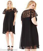Goddiva Black Sequin Lace Chiffon Baby Doll Shift Style Party Evening Dress