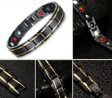 Gold Black 316 Stainless Steel Magnetic Therapy Health Care Men Energy Bracelet