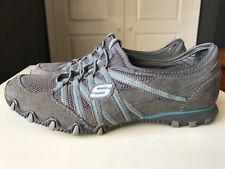 SKECHERS Ladies Women Sport Trainer Pump Court Grey & Blue Shoe Size 3 36
