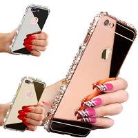 Fashion 3D DIY Diamond Bumper Mirror Hard Cover Skin Case for iPhone X 5s 6s 7 8