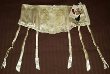 "Luxury Silk 6 STRAP SUSPENDER metal clips - (XS 24""-27"") - Ivory garter BELT NEW"