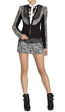 NWT $268 BCBG Max Azria Black Dallin Blocked Tweed Jacket Blazer Size S