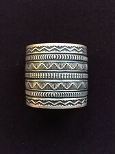 """Navajo Artist Sunshine Reeves-Large Sterling Silver Stamped Bracelet 2 1/4"""" Wide"""