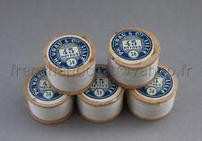 M075 Mercerie vintage ancienne 5 bobine bois fil de lin AU CHINOIS Blanc 30 VRAU